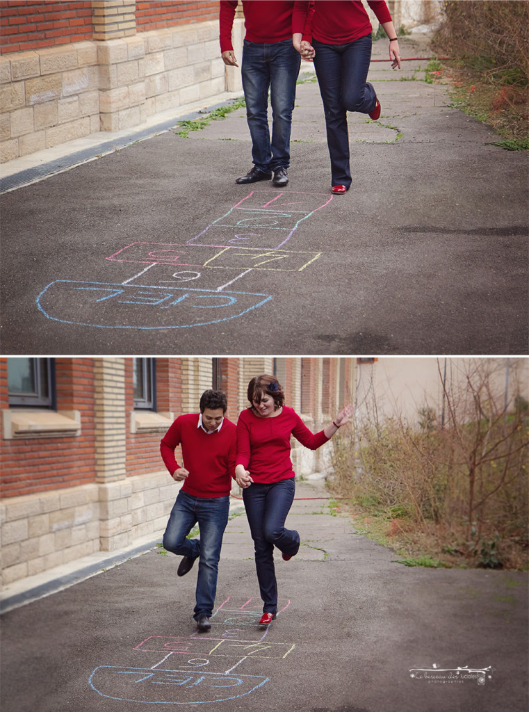 Séance photo couple jeux d'enfants toulouse