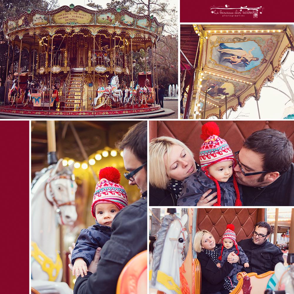 Séance photo famille avec bébé carrousel manège Toulouse