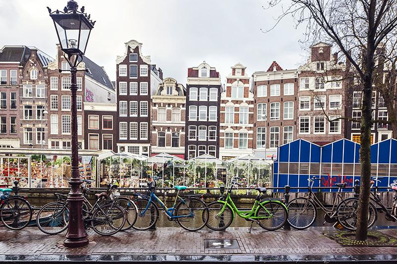 Marché aux fleurs amsterdam canal vélo