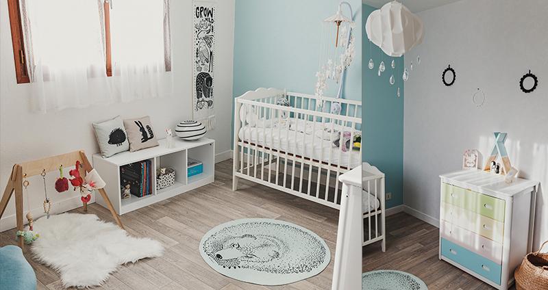 Décoration chambre bébé menthe noir et blanc